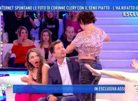 Domenica Live – CHOC! Corinne Clery mostra il seno in diretta TV!