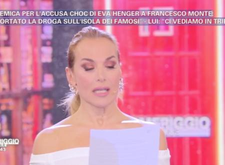 Barbara d'Urso legge il comunicato di Mediaset circa Francesco Monte e l'accusa di aver portato droga a L'isola dei famosi!